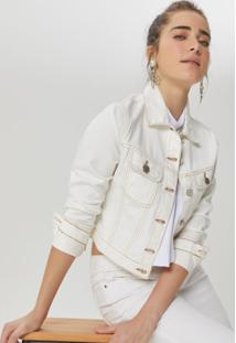 Amaro Feminino Jaqueta Sarja Cropped Color, Off-White