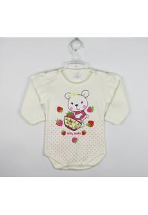 Body Bebê Manga Longa Estampada - Feminino