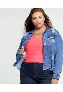 Jaqueta Jeans Cambos Premium Destroyed Plus Size Feminina - Feminino-Azul