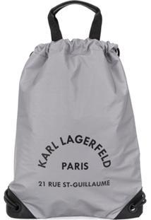Karl Lagerfeld Mochila Rue St Guillaume Com Cordão De Ajuste - Prateado