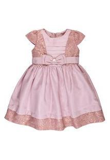 Vestido Infantil De Cetim Com Renda - Anjos Baby Chic Rosê