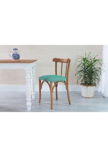 Cadeira Jantar De Madeira Estofada Justine - Stain Jatobá - Tec.950 Turquesa - 43X47,5X78,5 Cm