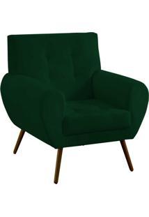 Poltrona Decorativa Beluno Suede Verde Pés Palito - D'Rossi