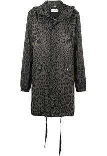 Saint Laurent Parka Com Estampa De Leopardo - Cinza