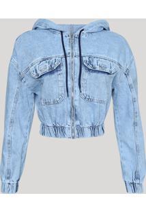 Jaqueta Jeans Feminina Cropped Com Capuz Azul Claro