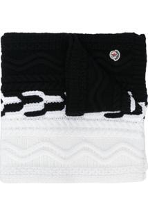 Moncler Cachecol De Tricô Bicolor - Branco