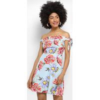 525393ff0 Vestido Lez A Lez Evasê Bali Floral - Feminino-Azul+Vermelho