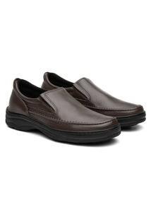 Sapato Social Masculino Ortopédico Elástico Conforto Marrom