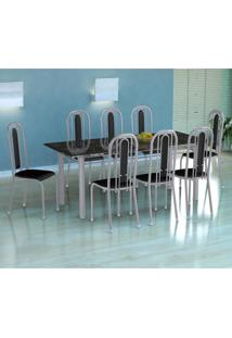 Conjunto De Mesa Cordoba Com 8 Cadeiras Granada Branco Prata E Preto Liso