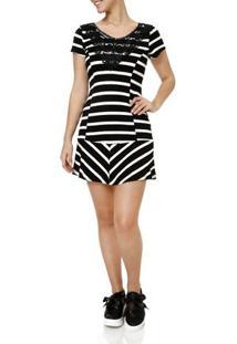 Vestido Curto Feminino Branco/Preto