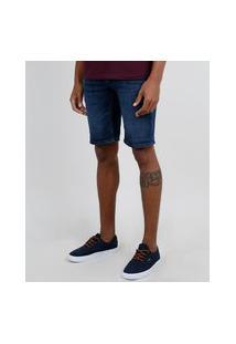 Bermuda Jeans Masculina Relaxed Com Cordão Azul Escuro