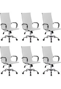 Conjunto Com 6 Cadeiras De Escritório Presidente Giratórias Eames Best Branco