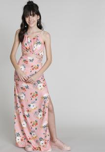 Vestido Longo Infantil Love Dress Estampado Floral Surf Com Fenda Rosê