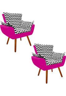 Kit 02 Poltrona Decorativa Opala Suede Composê Estampado Zig Zag Preto D80 E Suede Pink - D'Rossi