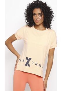 Camiseta Com Flowâ® & Recortes - Laranja Claro & Salmã£Ofila