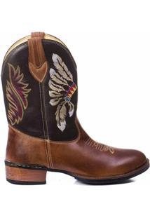 Bota Texana Country Indio Couro Bico Redondo Masculina - Masculino-Marrom