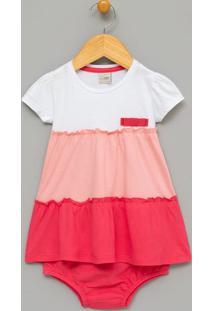 Vestido Infantil Com Lacinho E Botões No Ombro - Tam 0 A 18 Meses