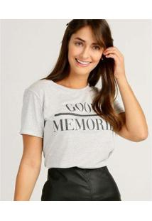 Camiseta Estampa Brilho Marisa Manga Curta Feminina - Feminino-Branco