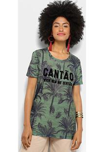 Camiseta Estampada Coqueiros Cantão Feminina - Feminino-Verde Escuro