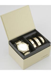 Kit De Relógio Analógico Lince Feminino + Pulseira - Lrg4391L K190C2Kx Dourado