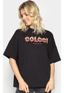 Camiseta Colcci Oversized Hard Edition Feminina - Feminino-Preto