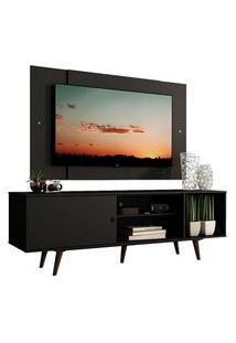 Rack Madesa Dubai Com Pés E Painel Para Tv Até 58 Polegadas Preto/Rustic 8Nd8 Cor:Preto/Preto/Rustic
