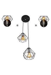 Kit 1 Pendente Duplo + 2 Arandelas Diamante Aramado Preto