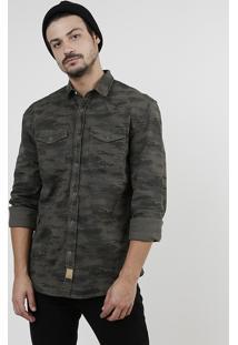 Camisa De Sarja Masculina Tradicional Estampada Camuflada Com Bolsos Manga Longa Verde Militar