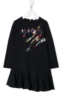 Msgm Kids Vestido Com Aplicação De Paetês - Azul