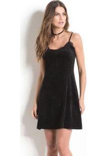 Vestido Slip Dress Quintess Em Plush Preto