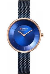 Relógio Curren Analógico Feminino - Feminino-Azul