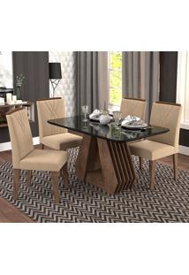 Conjunto De Mesa Com 4 Cadeiras Para Sala De Jantar 130X80 Agata/Nicole-Cimol - Marrocos / Preto / Caramelo