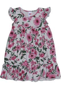 Vestido Floral Com Recorte- Cinza & Rosa- Kidstip Top