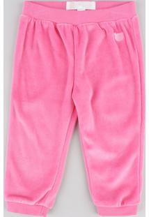 Calça Infantil Em Plush Pink