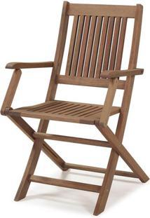 Cadeira Dobravel Primavera Com Bracos Stain Castanho - 34806 - Sun House