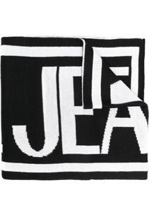 Versace Jeans Couture Cachecol De Tricô Com Logo - Preto