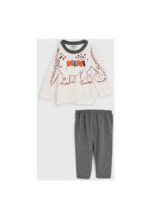 Pijama Elian Longo Infantil Full Print Off-White/Cinza