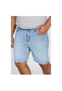 Bermuda Jeans Guess Reta Pespontos Azul