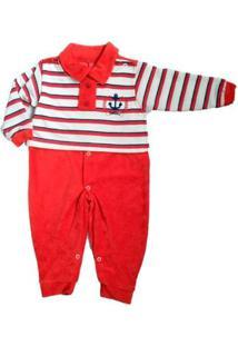 Macacão Longo Bebê Piftpaft Plush Enxoval Inverno Masculino - Masculino-Vermelho