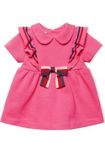 Gucci Kids Vestido De Algodão Com Laço - Rosa
