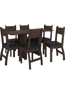 Conjunto De Mesa E 6 Cadeiras Para Sala De Jantar Milano Fosco-Poliman - Amendoa / Preto