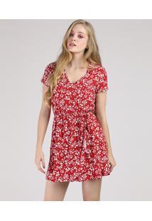 Vestido Feminino Curto Estampado Floral Com Transpasse Manga Curta Vermelho