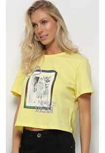 Camiseta Sommer Estampada Feminina - Feminino-Amarelo