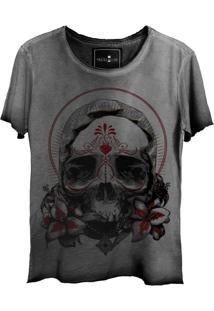 Camiseta Estonada Skull Lab Caveira Grafite