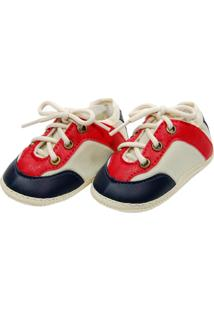 Tênis Confort Bege Sapatinhos Baby Azul-Marinho E Vermelha