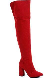 Bota Over The Knee Salto Grosso Lara - Vermelho