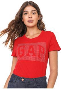 Camiseta Gap Aplicações Vermelha