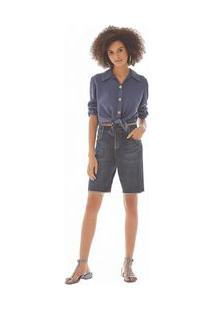 Bermuda Comfort Com Recortes Jeans 38