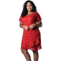 c801c7b0ae Vestido Lenner Plus Size De Renda - Feminino-Vermelho
