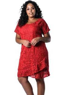 Vestido Lenner Plus Size De Renda - Feminino-Vermelho